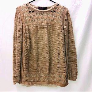 Copper Metallic Open Knit Sweater Tan Bronze